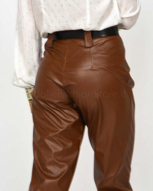 ★ Haveone Pantalone in Ecopelle Cuoio con Cintura  PLA-D012-109