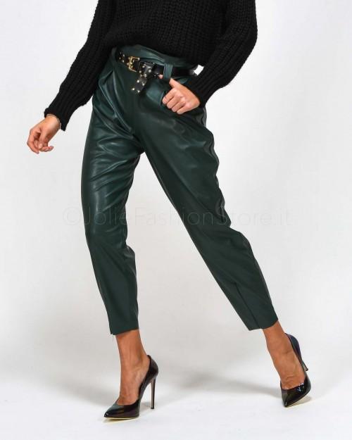★ Haveone Pantalone in Ecopelle Verde con Cintura
