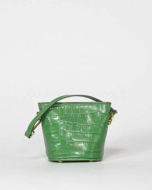 My Best Bags Borsetta In Pelle Stampa Cocco Verde