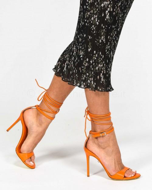 Sergio Levantesi Sandalo Con Laccio In Pelle Arancione