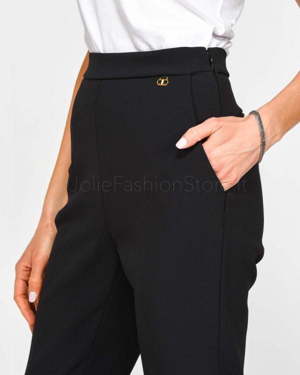 Elisabetta Franchi Pantalone Rosa Cipria con Cintura Cuoio PA2799E2