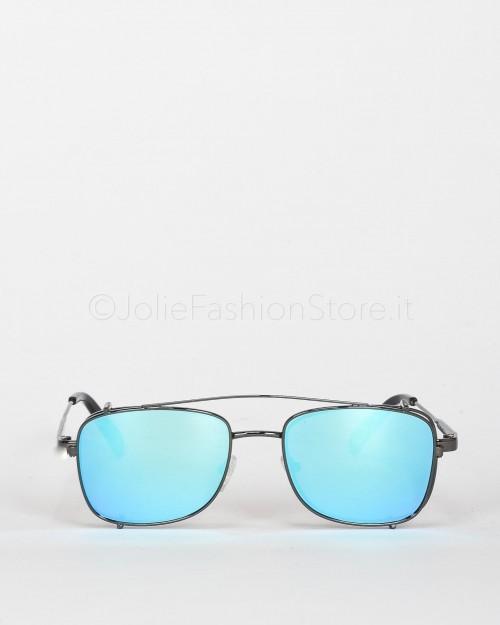 Blinded Occhiali da Sole Mod. Sant Antoni in Metallo Nero con Lente Grigia con Clip On Azzurra