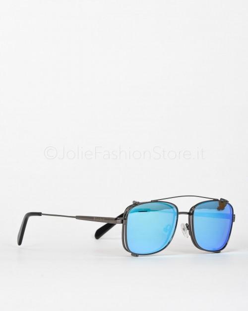 Blinded Occhiali da Sole Mod. Sant Antoni in Metallo Nero con Lente Grigia con Clip On Azzurra  SANT ANTONI GUN METAL