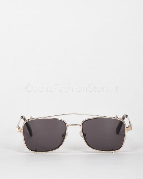 Blinded Occhiali da Sole Mod. Sant Antoni in Metallo Oro con Lente Beige con Clip On Marrone