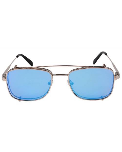 Blinded Occhiali da Sole Mod. Sant Antoni in Metallo Argento con Lente Azzurra con Clip On Azzurra  SANT ANTONI SILVER