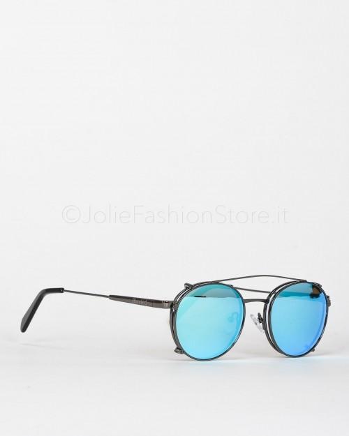 Blinded Occhiali da Sole Mod. WhitSunday in Metallo Nero con Lente Azzurra con Clip On Azzurra  WHITSUNDAY GUN METAL