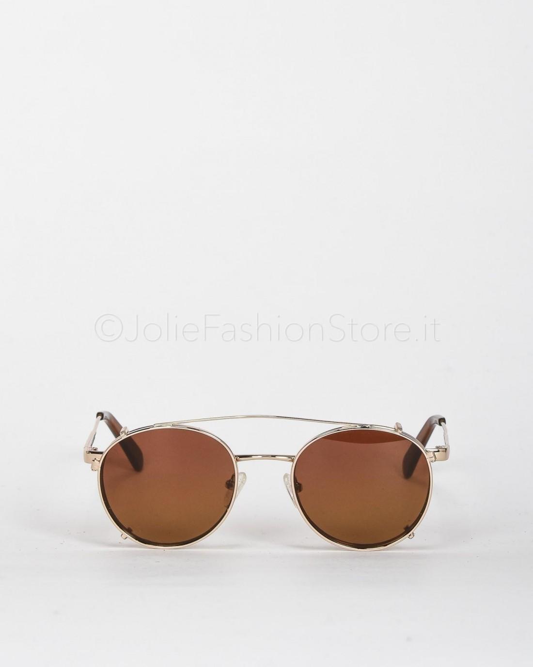 Blinded Occhiali da Sole Mod. WhitSunday in Metallo Oro con Lente Rosa-Giallo con Clip On Marrone  WHITSUNDAY GOLD