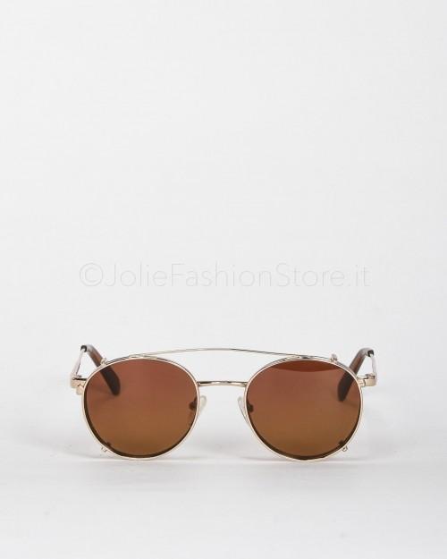 Blinded Occhiali da Sole Mod. WhitSunday in Metallo Oro con Lente Rosa-Giallo con Clip On Marrone