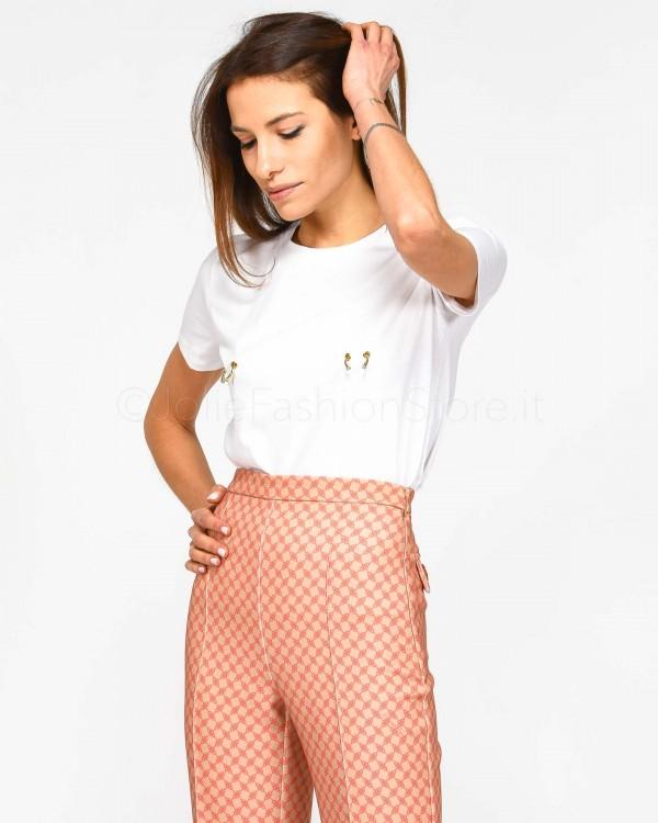 Pinko T-Shirt Nera con Strass Rosa 3U10JA VALZER 1