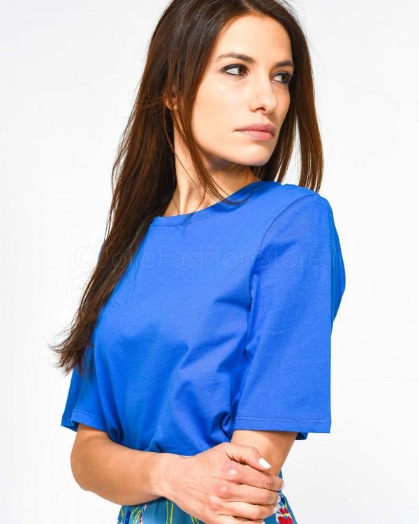 Patrizia Pepe T-Shirt Bianca con Maniche in Trasparenza e Stampa Scritta in Contrasto Rossa 2J2218