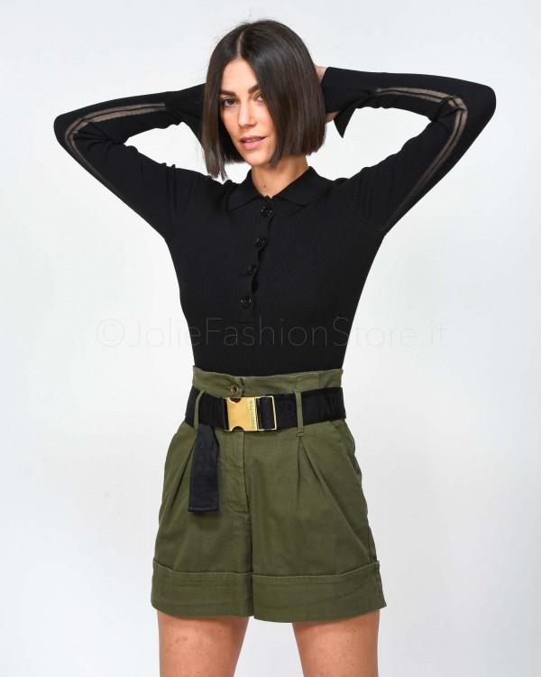 Le Voliere Pantalone in Felpa Nera con Banda Oro PO58