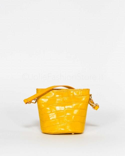 My Best Bags Borsetta In Pelle Stampa Cocco Gialla