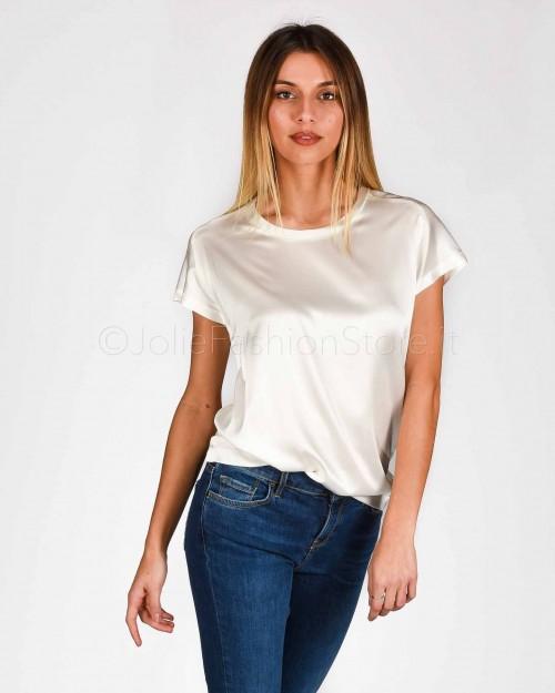 Pinko T-Shirt in Raso di Seta Bianca  1G14TU-Z05