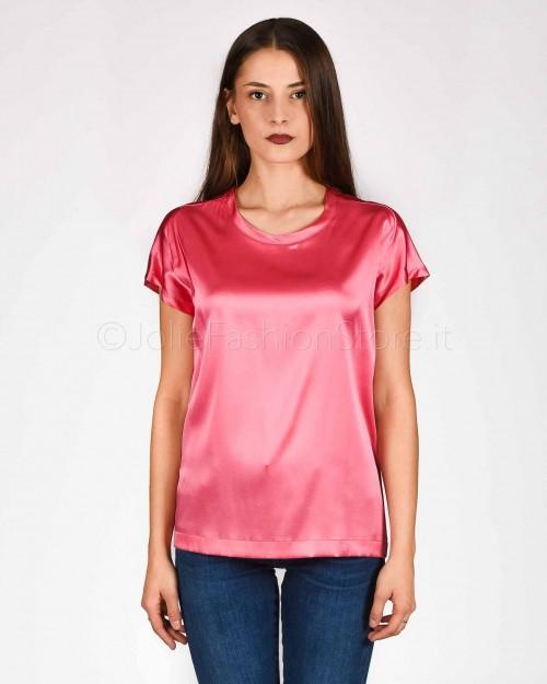 Pinko T-Shirt in Raso di Seta Fucsia