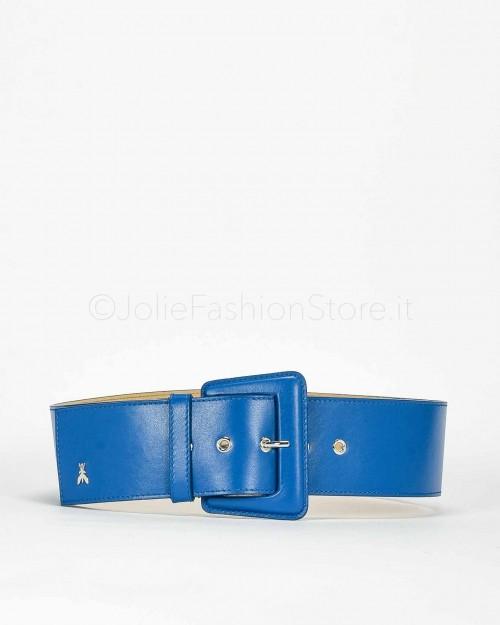 Patrizia Pepe Cintura a Vita Alta in Pelle Blu