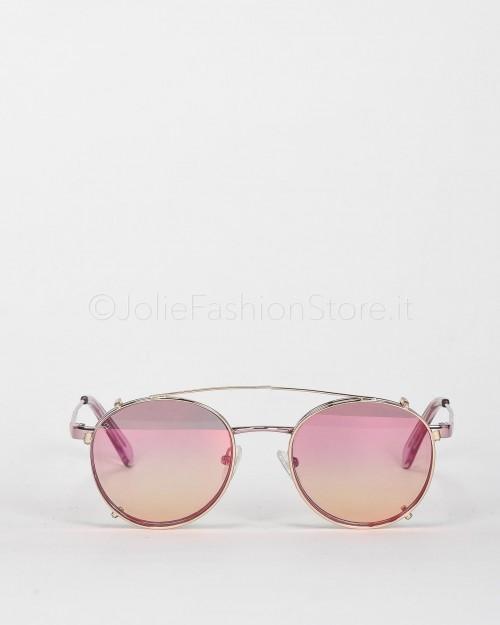 Blinded Occhiali da Sole Mod. WhitSunday in Metallo Rosa con Clip On Rosa