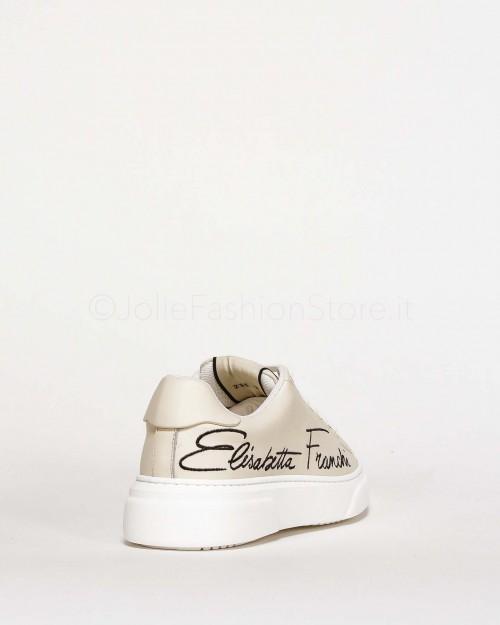 Elisabetta Franchi Sneakers Avorio Con Scritta  SA31H16E2-360