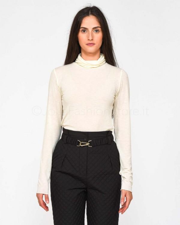 Elisabetta Franchi Pantalone a Vita Alta con Logo Fucsia PA32196E2-560