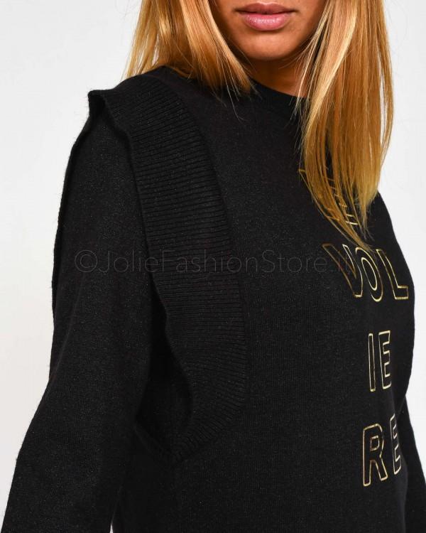 Elisabetta Franchi Piumino con Maxi Collo Nero PI13G96E2-110