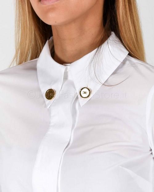 Elisabetta Franchi Camicia in Cotone Bianca  CA24601E2-100