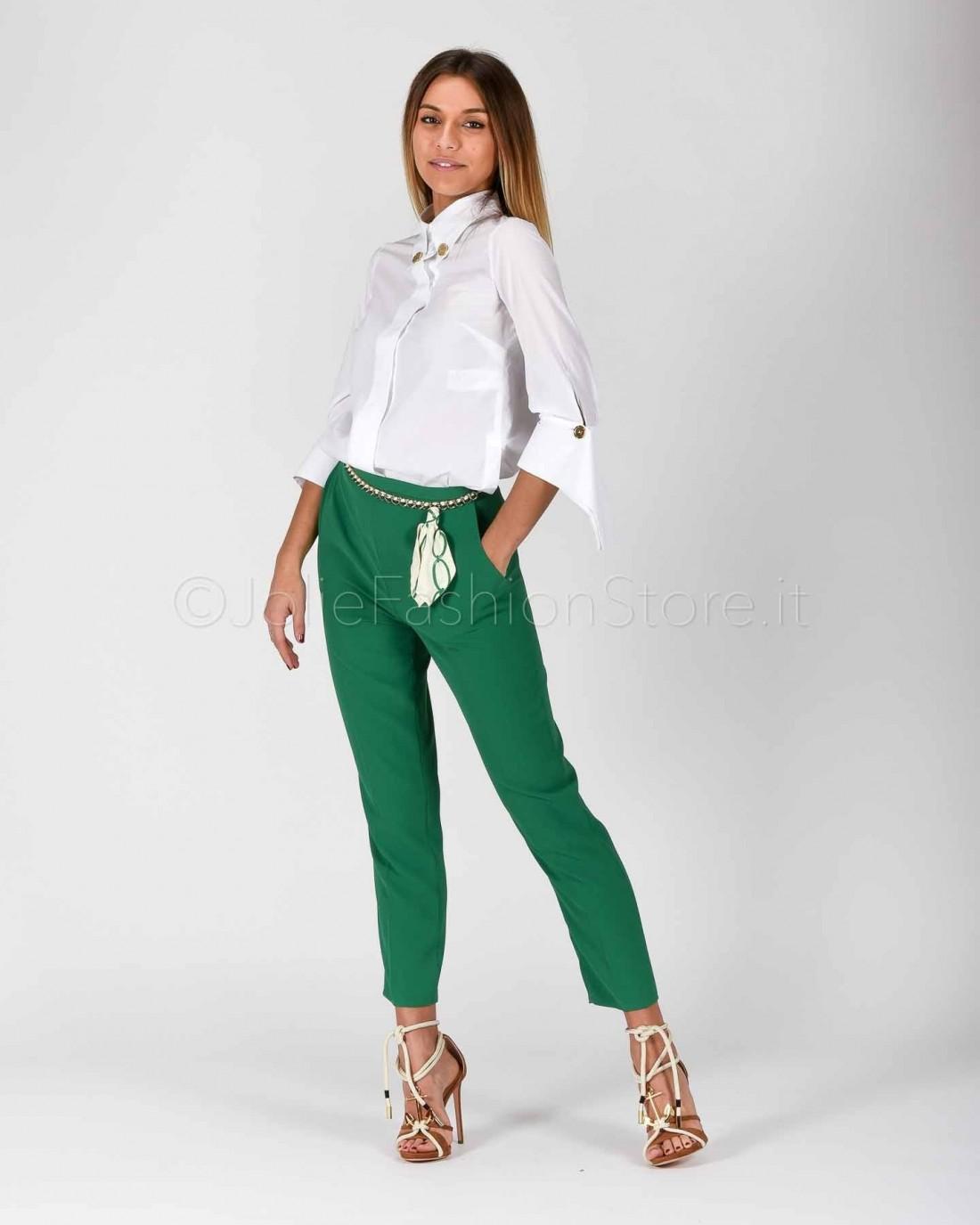 Elisabetta Franchi Pantalone con Catena Verde  PA05001E2-124