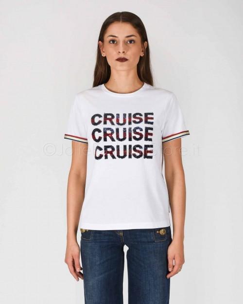 Elisabetta Franchi T-Shirt con Scritta Paillettes  MA16801E2-270