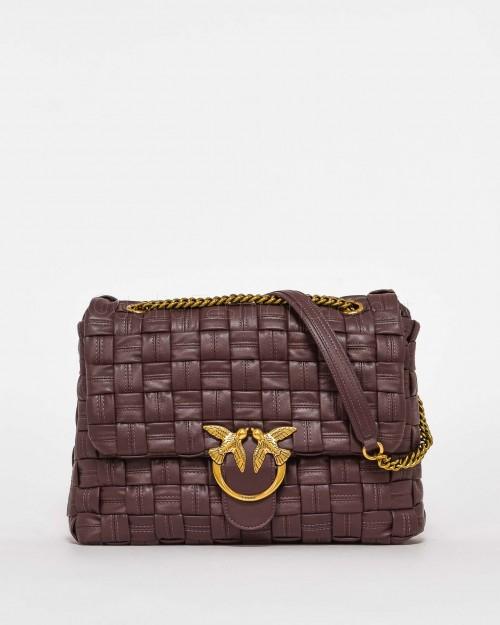 Pinko Borsa Big Love Bag Puff Weave Rosso Bordeaux
