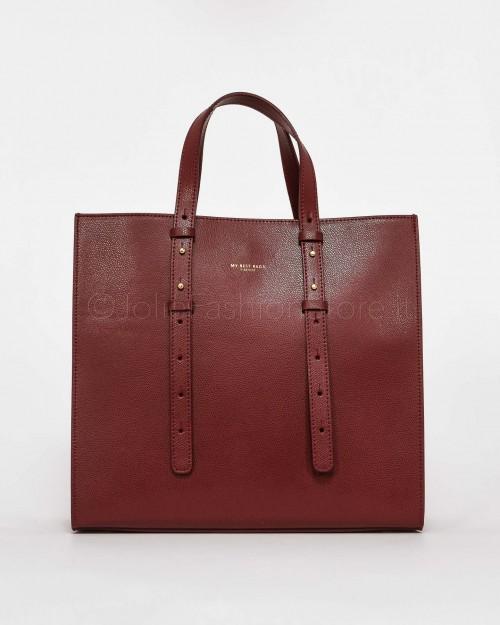 My Best Bags Borsa Shopper in Pelle Bordeaux