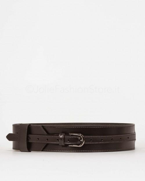 Elisabetta Franchi Pantalone a Vita Alta Blu Con Cintura PA32696E2-BLU