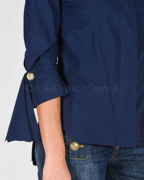 Elisabetta Franchi Camicia in Cotone Blu  CA24601E2-Y02