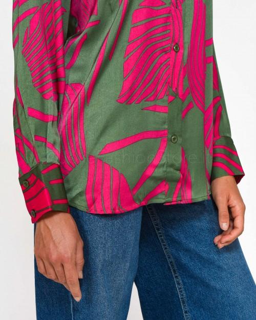 Anonyme Camicia in Fantasia Fucsia e Verde  A241FT075