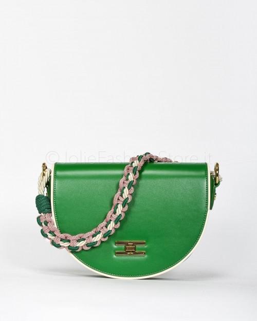 Elisabetta Franchi Borsa con Spallaccio in Tessuto di Corda Verde