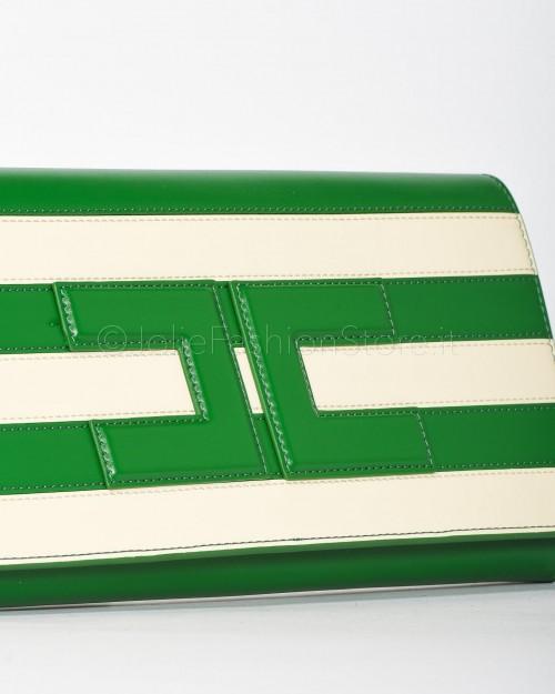 Elisabetta Franchi Borsa Pochette a Righe Verde e Burro  BS31A01E2-Y88