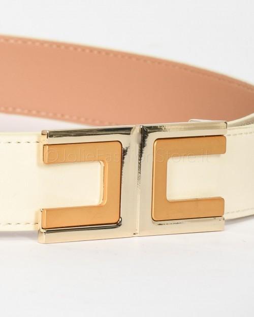 Elisabetta Franchi Cintura con Logo Avorio  CT02S01E2-193