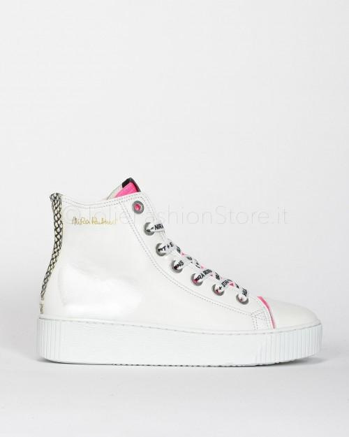 Nira Rubens Sneakers Alta in Pelle con Cuore Python e Fucsia