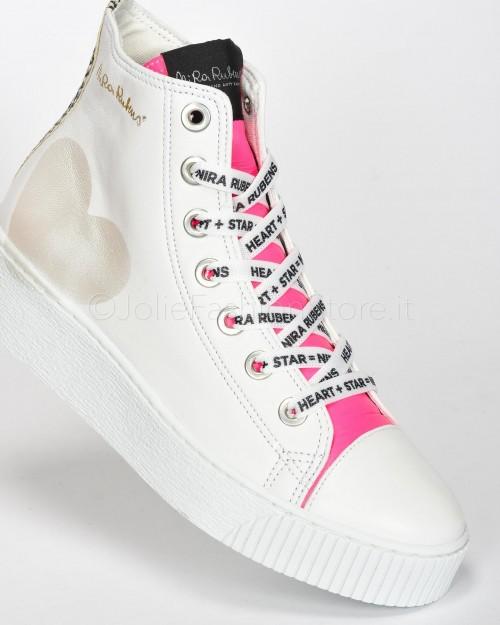 Nira Rubens Sneakers Alta in Pelle con Cuore Python e Fucsia  LICU07