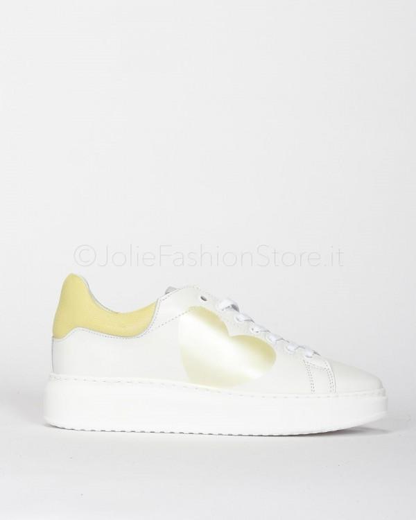 Nira Rubens Sneakers in Pelle con Cuore Giallo  ALCU03-BIANCO
