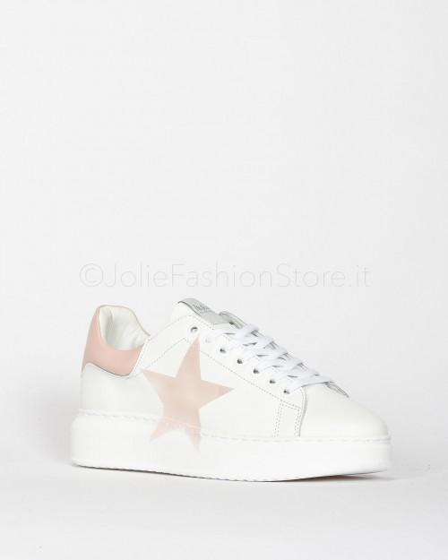 Nira Rubens Sneakers in Pelle con Stella Rosa Cipria  ALST02-BIANCO
