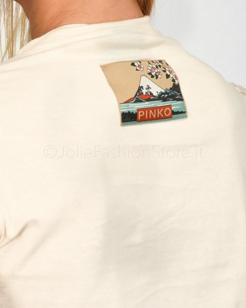 Pinko T-Shirt Avorio con Maniche Balloon  1B14GK-C32