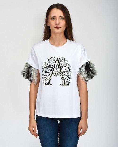 Alessandra Chamonix T-Shirt Bianca con Logo Nero e Piume