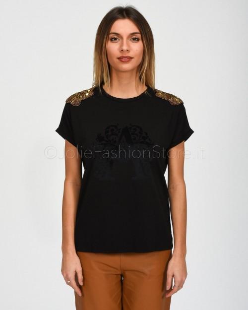 Alessandra Chamonix T-Shirt Nera con Applicazioni Spalle