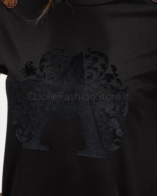 Alessandra Chamonix T-Shirt Nera con Applicazioni Spalle  WFLOR