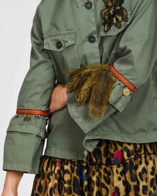 Alessandra Chamonix Giacca Verde Militare con Applicazioni  WAPOWASH