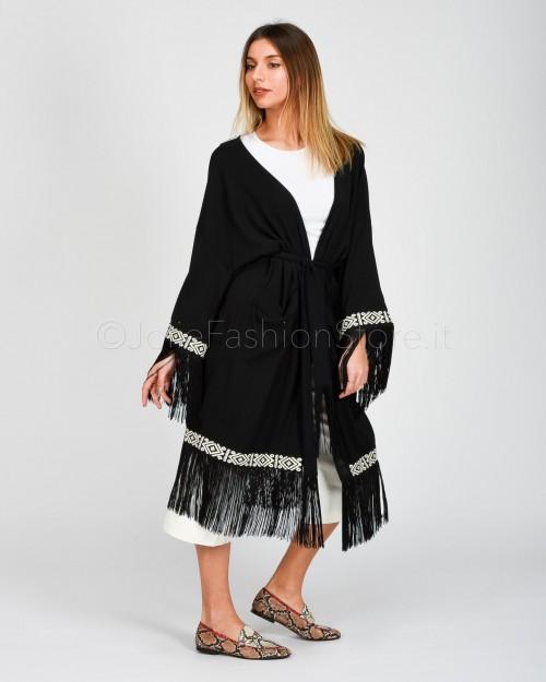 Alessandra Chamonix Kimono Nero con Frange