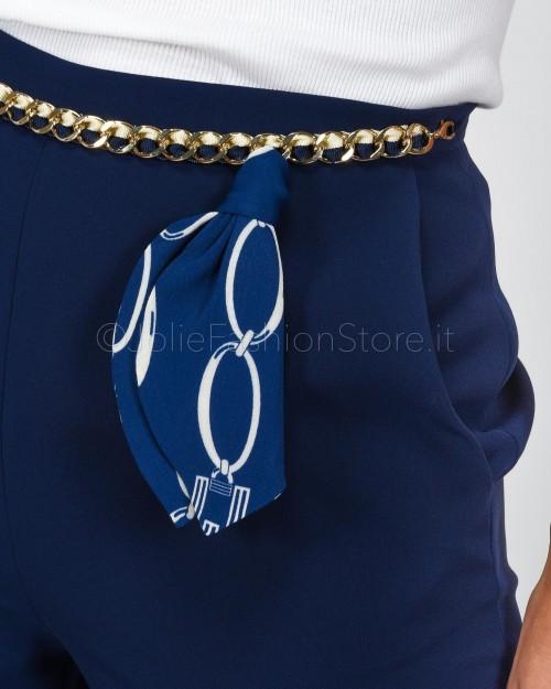 Elisabetta Franchi Pantaloni con Catena Blu  PA05001E2-Y02