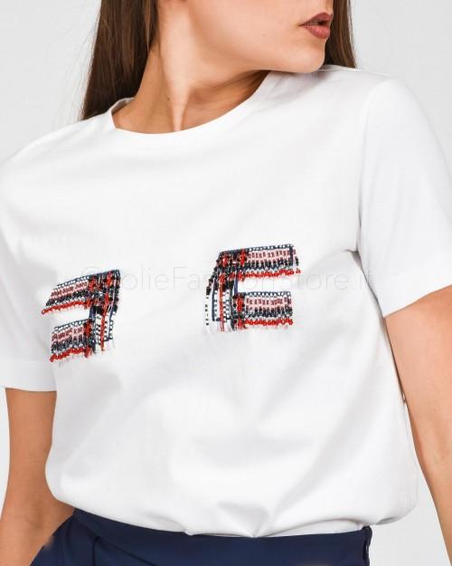 Elisabetta Franchi T-Shirt Logo con Perline  MR02A01E2-270