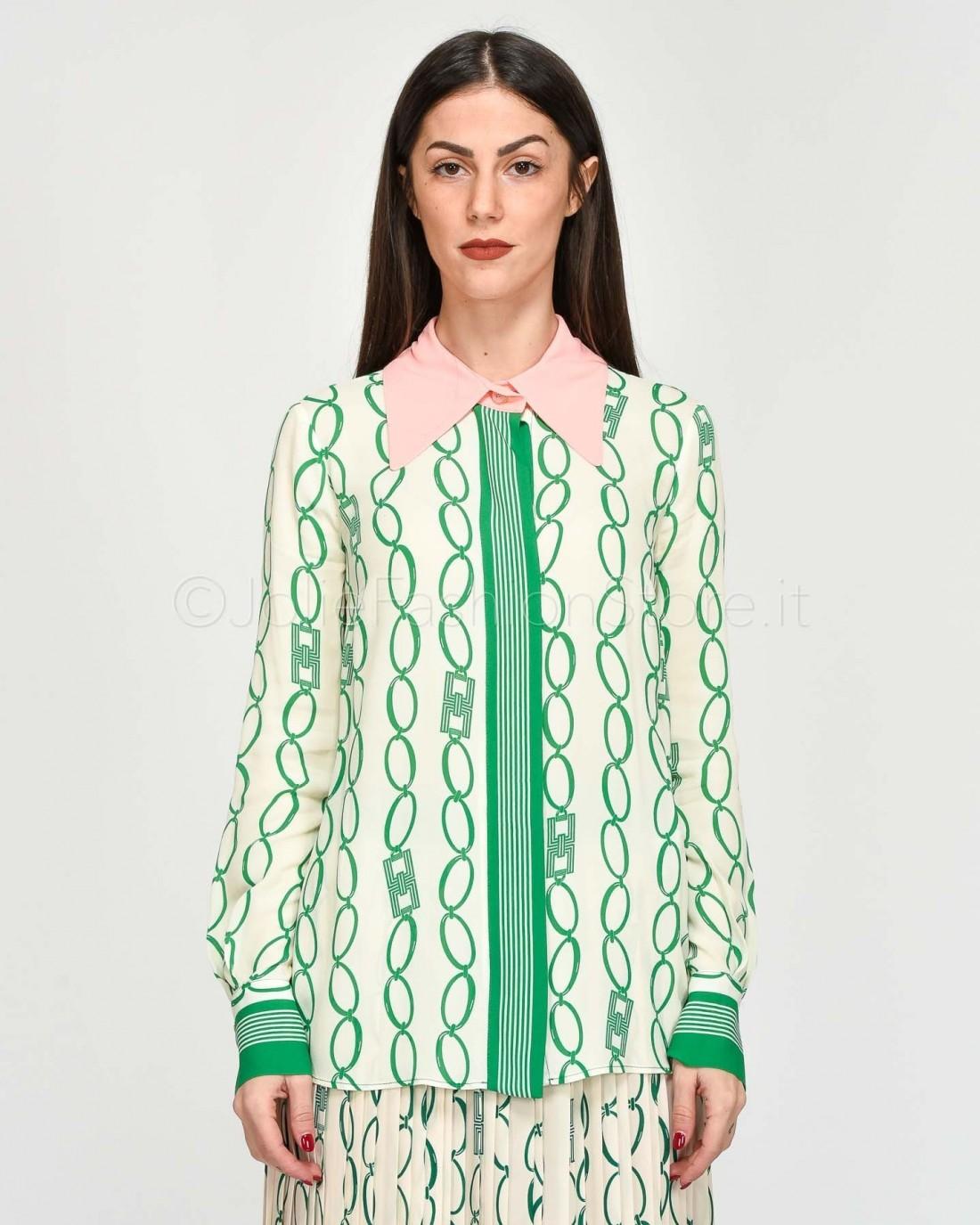 Elisabetta Franchi Camicia in Fantasia Burro Verde  CA25801E2-Y64