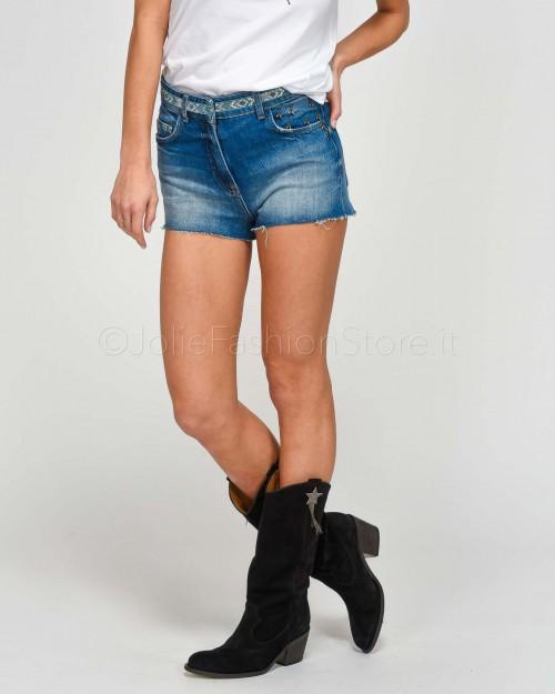 Patrizia Pepe Shorts in Jeans con Greca in Perline