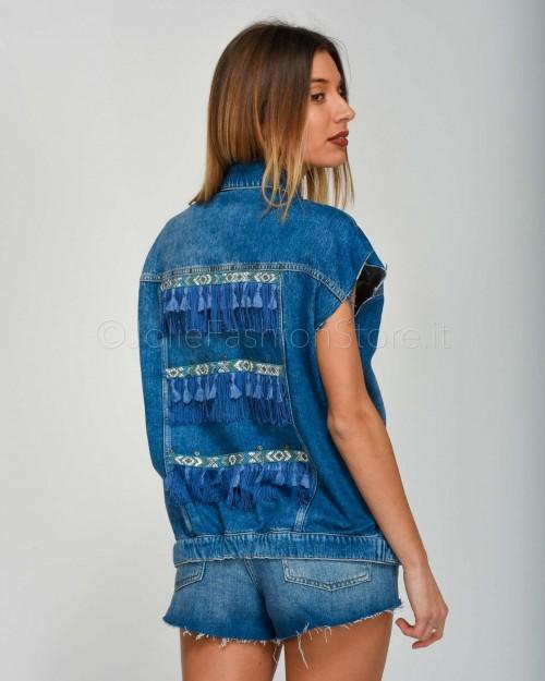 Patrizia Pepe Gilet in Jeans Sfrangiato con Perline  2J2278-C825