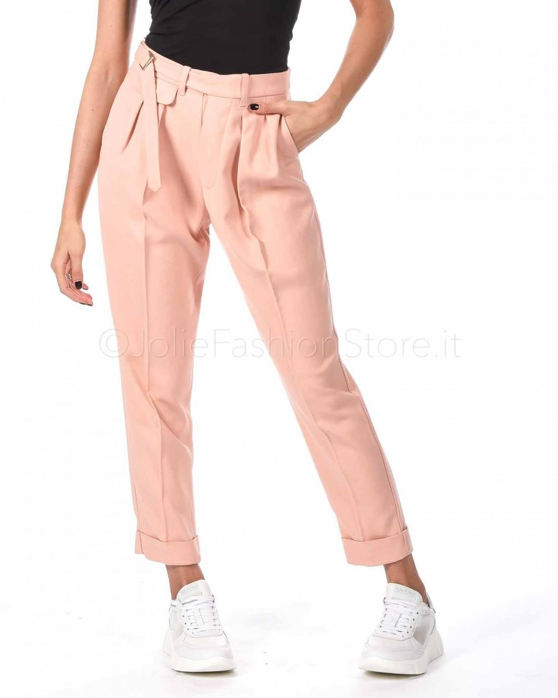 Elisabetta Franchi Pantalone a Sigaretta Rosa con Cintura  PA28296E2-153